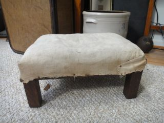 C 1915 Antique Quaker Mission Craft Wood Foot Stool W/2 Labels Early Linen photo