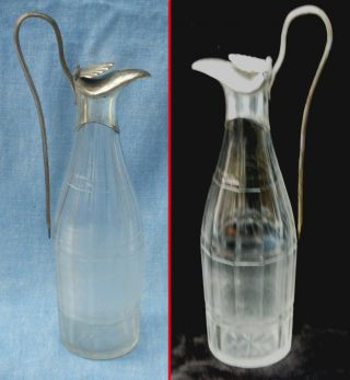 Charming Old Sheffield Plate And Cut - Glass Lidded Sauce Bottle,  1780s - 90s photo