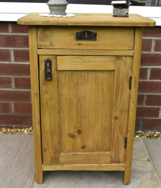 Antique Pine Rustic Pot Cupboard Bedside Cabinet With Drawer Shabby Chic photo