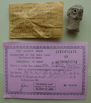 Canaanite L.  Bronze Age Ceramic Pottery Astarte Goddess Idol Head Found Jericho photo