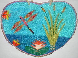 Dragonfly Pictorial Heart Bead Flat Bag Columbia River Yakima Nez Perce Plateau photo