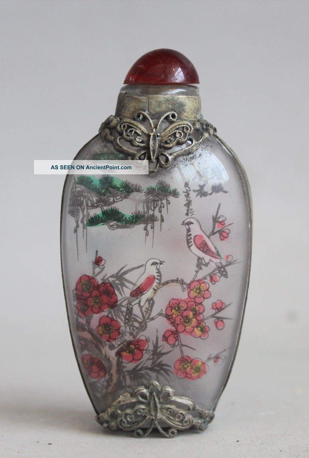 Chinese Miao Silver Glass Inside Painting Butterfly Flower Bird Snuff Bottle