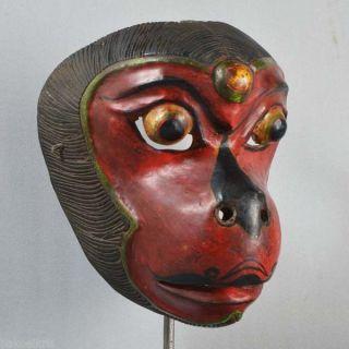 Indonesian Javanese Jawa Wayang Topeng Mask Maschera Wooden Carved Pt95 photo