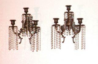 2 Antique Bronze Brass 3 Arm Candlabra Wall Sconces Each W/180 Crystals photo