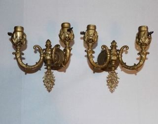 Antique Gold Baroque Electric Double Candlesticks Pair Vtg Wall Light Sconces photo