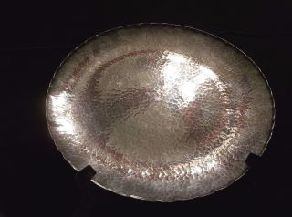 Rare Roycroft The Avon Copper Smith Hammered Sterling Silver Tray 1930 ' S photo