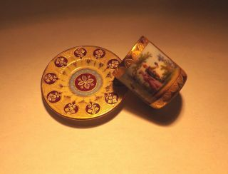 Authentic Royal Vienna Miniature Tea Cup And Saucer Shield/beehive Mark photo