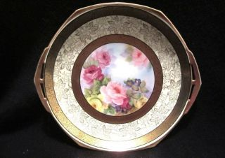 Noritake Hand Painted Double Handle Cake Plate Large Pink/yellow Roses Gold Trim photo