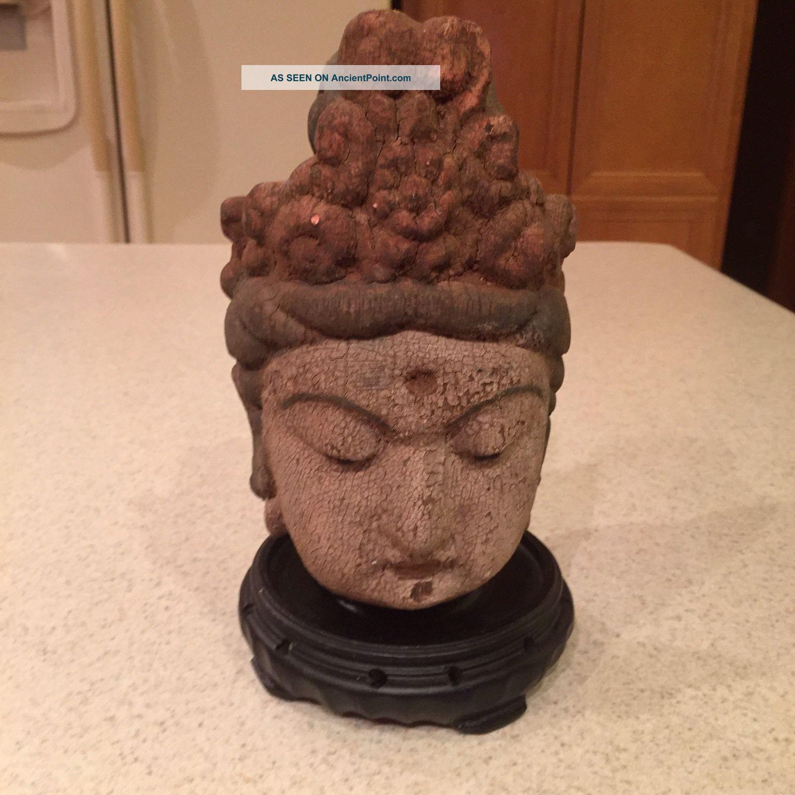 Vtg Chinese Hand - Carved Wood Kwan - Yin Bodhisattva 8