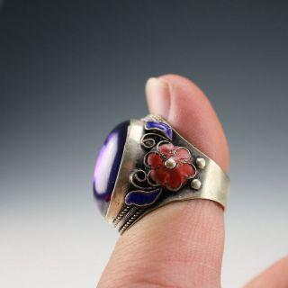 Tibetan Vintage Handwork Silver Inlay Amethyst Flower Ring photo