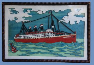 A Rare And Vintage Piece Primitive Folk Art Showing A Model Of The Ss Statendam photo