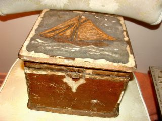 1700 ' S/1800 ' S Antique Sailors Lovers Valentine Folk Art Box Maritime To Katherin photo
