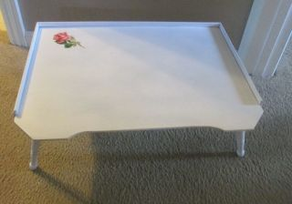 Vintage Cottage White Folding Breakfast Bed Tray W/rose Decal 1950 ' S photo