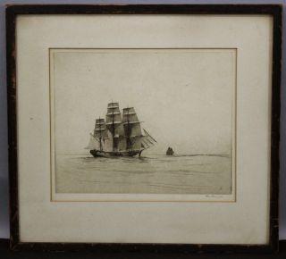 1927 Antique John A.  Dix Pencil Signed Clipper Ship Seascape Etching Print Nr photo