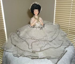 Antique 1/2 Pincushion Wood Doll Painted Face Ruffled Tulle Gown Exceptional photo