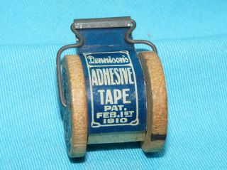 Antique Vtg Dennison ' S Adhesive Transparent Tape On Wooden Spool Pat Feb 1,  1910 photo
