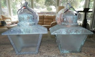 Old Vintage Copper Porch Light Fixtures - Great Patina Pair photo