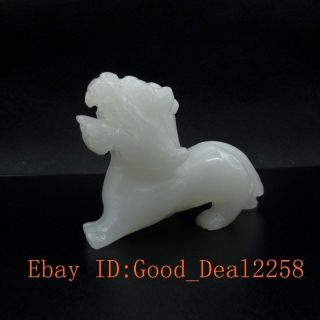 275g 100 Natural White Jade Hand - Carved Pixiu Statue/7 photo