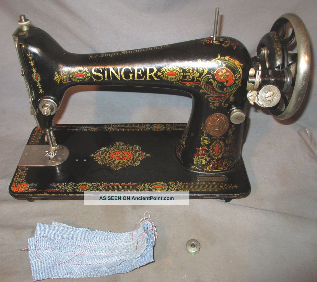 Serviced Antique 1919 Singer 66 66 - 1 Red Eye Treadle Sewing Machine See Video Sewing Machines photo