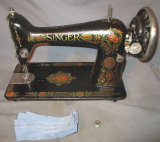 Serviced Antique 1919 Singer 66 66 - 1 Red Eye Treadle Sewing Machine See Video photo