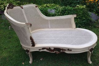 French Louis Carved,  Painted,  Gilded,  Cane Chaise photo