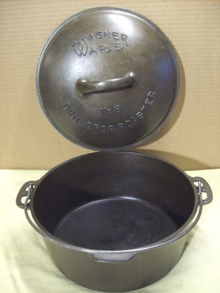 1920 ' S Wagner Ware No.  8 Drip Drop Roaster Cast Iron Dutch Oven Antique Cookware photo