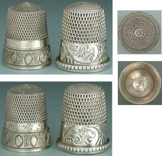 2 Antique Sterling Silver Thimbles By Simons Bros.  Circa 1890 - 1900 photo