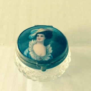 Antique Crystal Pill Box Snuff Box French Victorian Hand Painted Fab photo