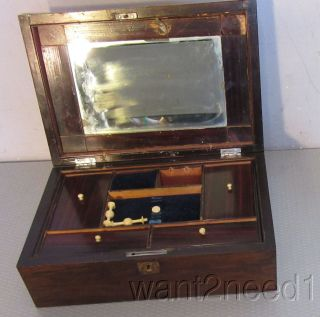 Antique 19c Victorian Sewing Work Box Fitted Pincushion Mirror Thread Winders photo