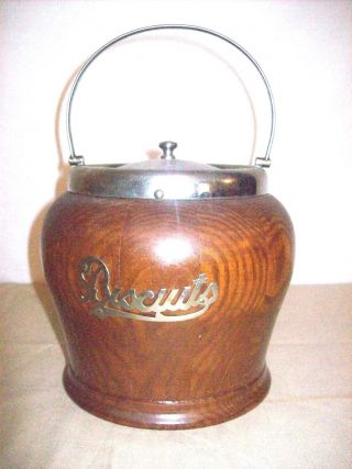 Antique Wooden Biscuits Jar With Metal Lid And Handle And Stoneware Inside photo