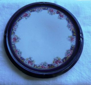 Antique Porcelain Hot Plate Trivet Flowered & Deep Blue Rim photo