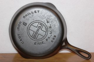 Vintage 1930 - 1939 Griswold (large Logo) 6 Cast Iron Skillet P/n 699 Erie,  Pa. photo