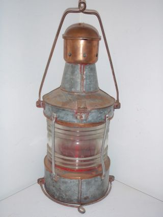 Vintage H Henriksen Bergen Norge Port Red Lamp Lanternefabrikk 21½ Tall photo