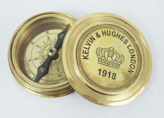Kelvin & Hughes Brass Calendar Compass Antique Maritime Vintage Collectibles photo