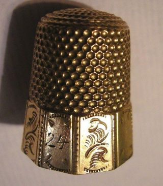 Fancy Antique Paneled 10 Kt Gold Thimble By Waite Thresher Early 1900,  S Sh photo