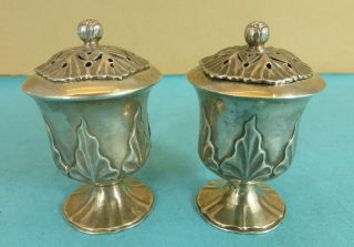 Rare Pair Indian Colonial Sterling Silver Peppers Fine Chased Leaf Bengal C1855 photo
