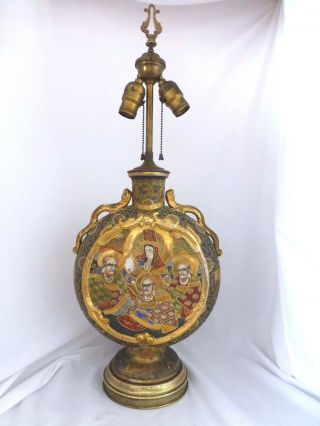 Antique Imperial Satsuma Vase Converted To Lamp.  Meija.  1880s photo