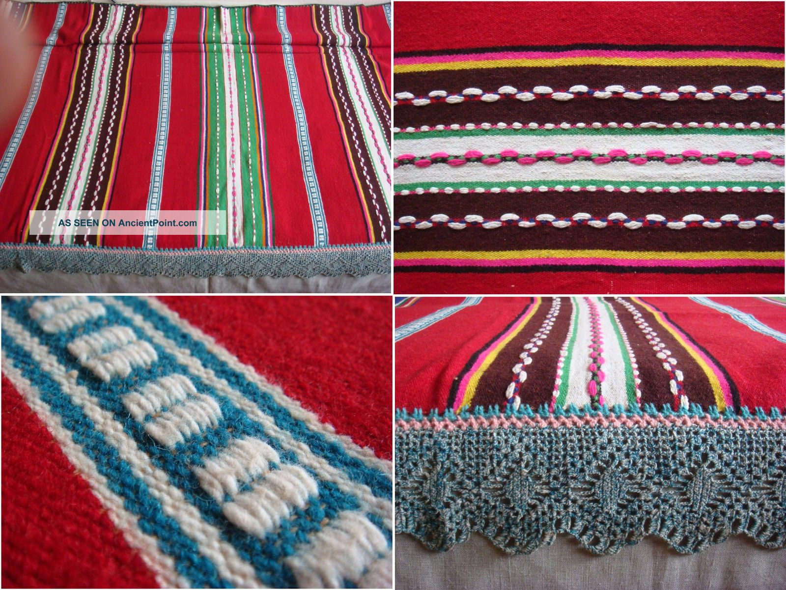Wow Antique Macedonian Hand Woven Woolen Bedspread W/ Hand Croched Filet Lace Bedspreads & Coverlets photo