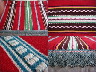 Wow Antique Macedonian Hand Woven Woolen Bedspread W/ Hand Croched Filet Lace photo