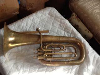 Antique H N White King Baritone Euphonium Trombonium 3 Valve Horn,  Hard Case Mp photo