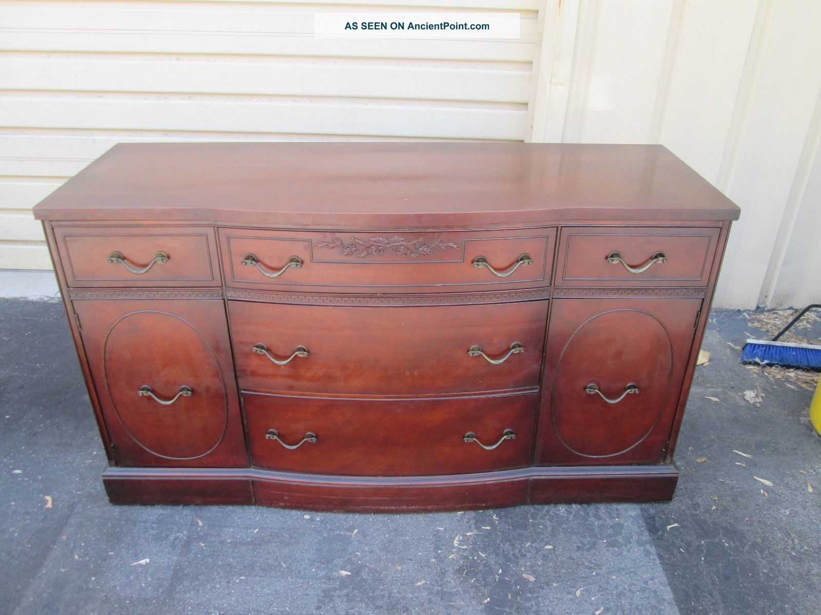 55378 Antique Mahogany Sideboard Buffet Server Cabinet 1900-1950 photo