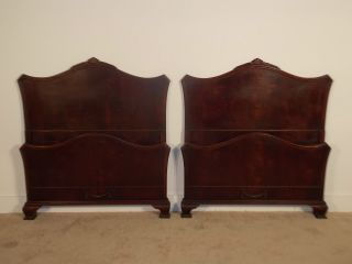 Pair 1930s / 40s Flame Or Figured Mahogany French Chippendale Twin Beds photo