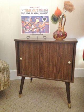 Vintage Mid Century Modern Lp Vinyl Album Record Cabinet,  Sliding Doors,  Storage photo