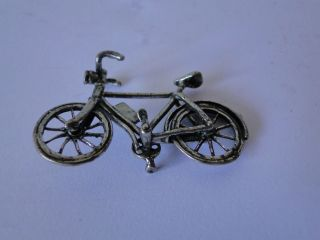 Miniature Bicycle,  Sterling Silver,  Italy Dated 1960,  Marked photo