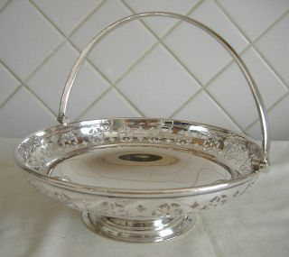 Vintage Silver Plated Circular Swing Handle Pedestal Fruit Bowl By Martin Hall photo