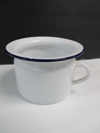 Antique Vollrath Co Chamber Pot White Enamel With Sticker photo