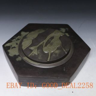 Old Antiques Chinese Chen Ni Inkstone Hand Carved Of Magpies & Plum Blosso photo