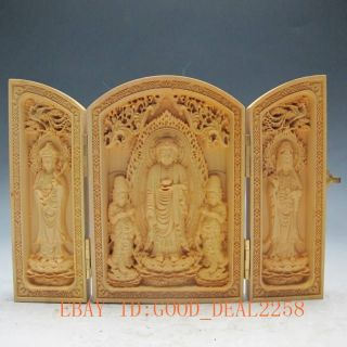 Decorated Boxwood Highly Difficulty Carved Floding Box - - - Western Trinity photo