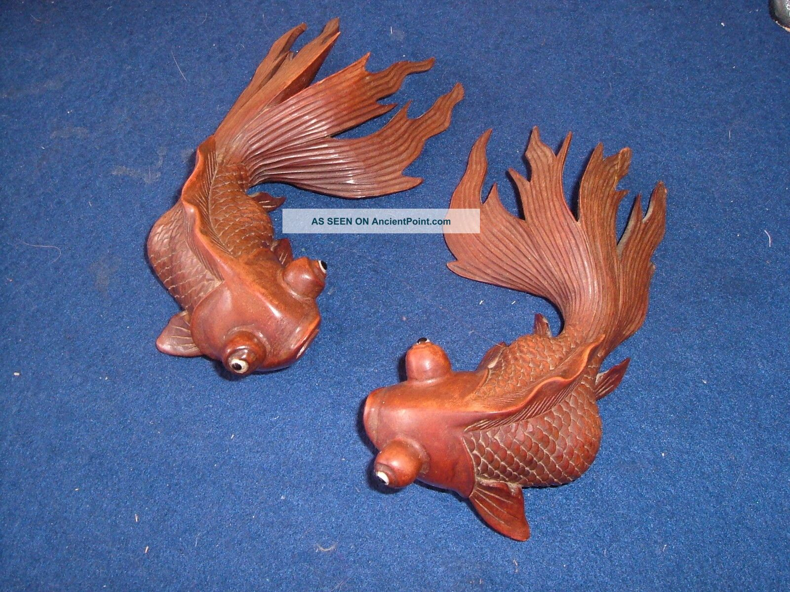 Antique Chinese Hand Carved Hardwood Carp X 2 Fan Tailed Fish Koi Glass Eye Pair Woodenware photo