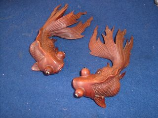 Antique Chinese Hand Carved Hardwood Carp X 2 Fan Tailed Fish Koi Glass Eye Pair photo
